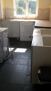 New kitchen units being fitted