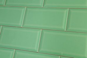 Jade green metro tiles in brick formation