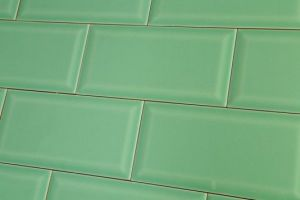 Jade green metro tiles in brick formation