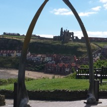 View of the Abbey through the whalebone 'gate' at the West Cliff
