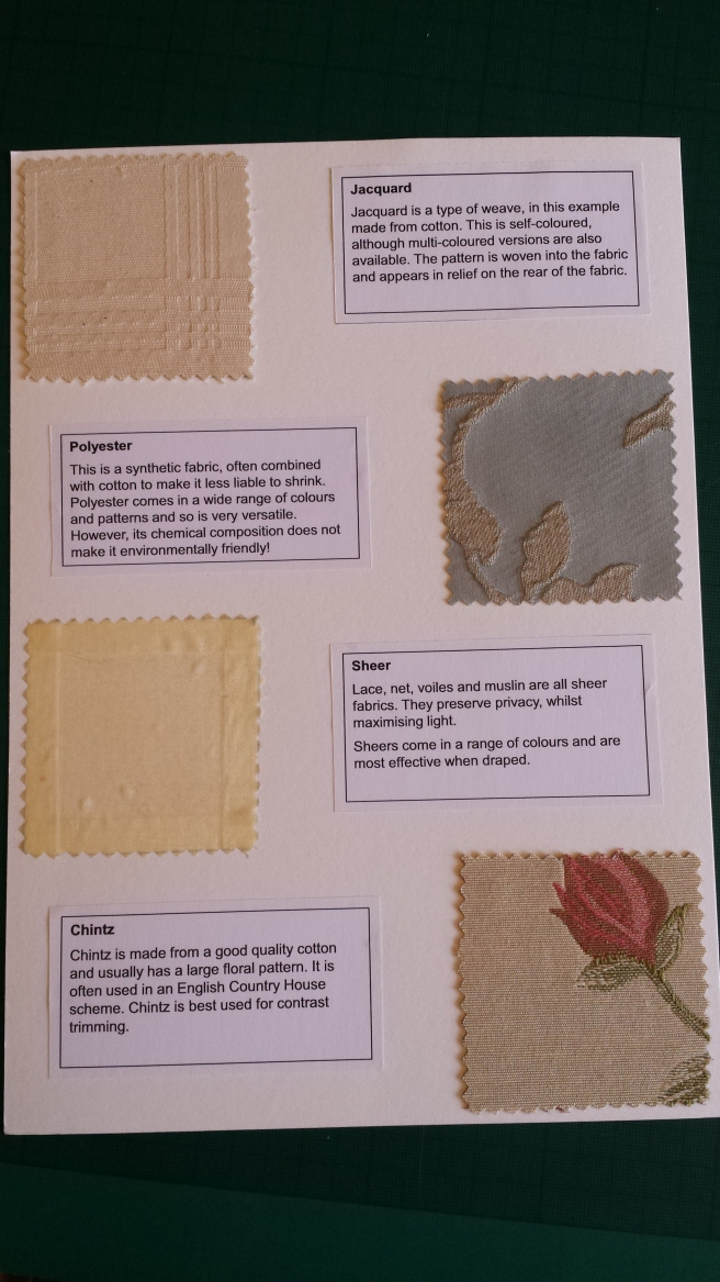 Fabric samples on card