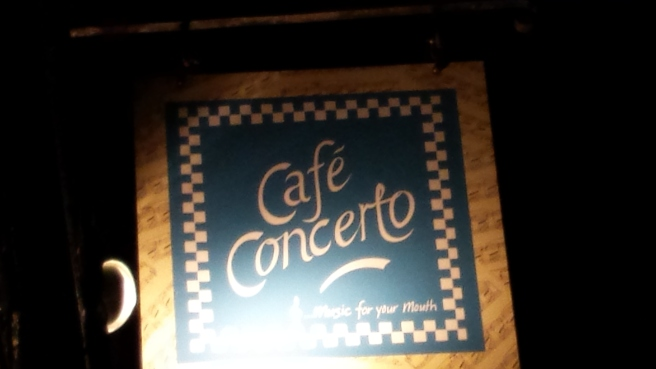 Street sign for Cafe Concerto, York