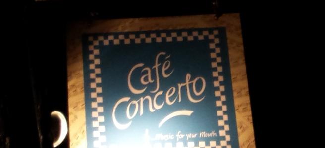 Street sign for Cafe Concerto, York