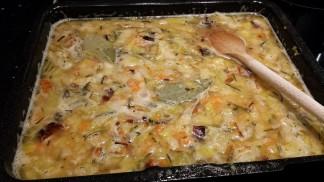 Roasted veg simmering in stock