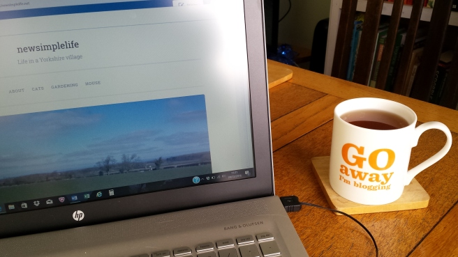 Laptop with blogging mug of tea