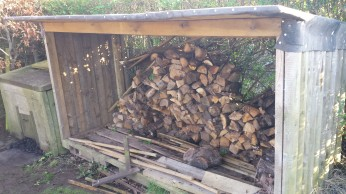 Outdoor woodstore containing logs