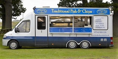 Blue and white fish and chip van