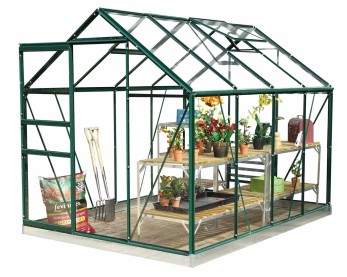 Green metal greenhouse with shelving, plants and tools inside