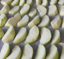 Sliced apples in rows on greaseproof paper