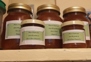 5 jars of home made jam, with green and white labels