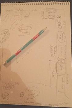 Sketch pad with pencil plan of a garden