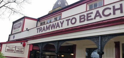 Traditional sign for Tramway to Beach, Scarborough