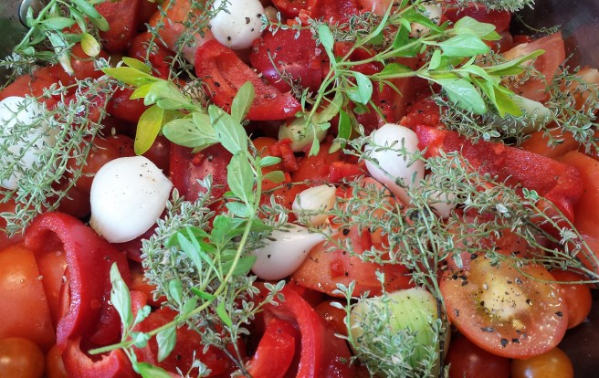 Close up of tomatoes, onions, peppers and herbs in a pan