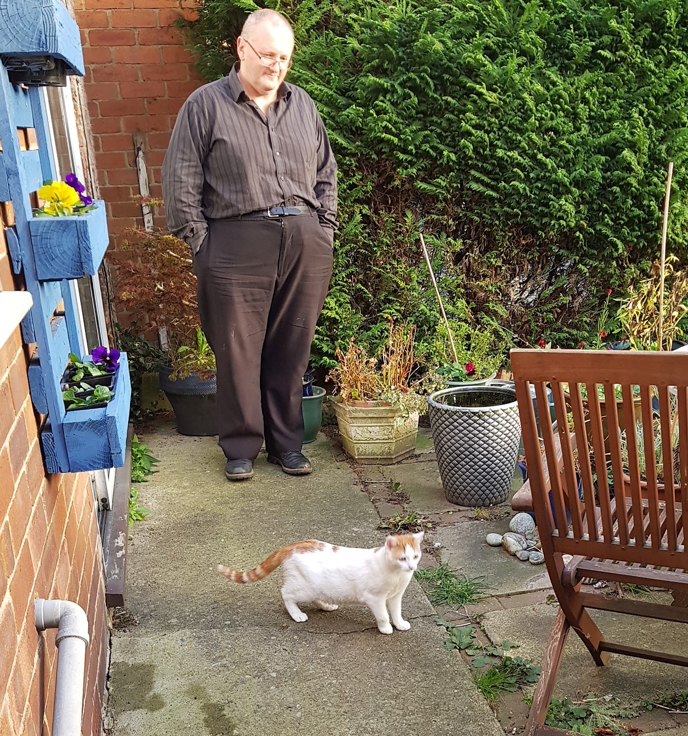 Man dressed in black watching a young white and ginger cat on a patio