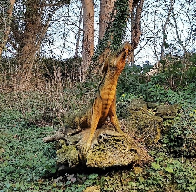 Wooden dragon from the front sitting on a rock in the woodland