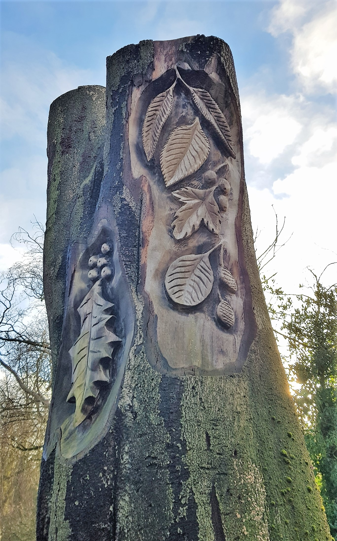 Leaves carved into a tall tree trunk