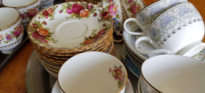 Floral china teacups and saucers