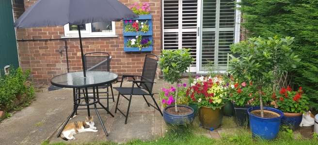 Small patio with black furniture and lots of containers with brightly coloured flowers