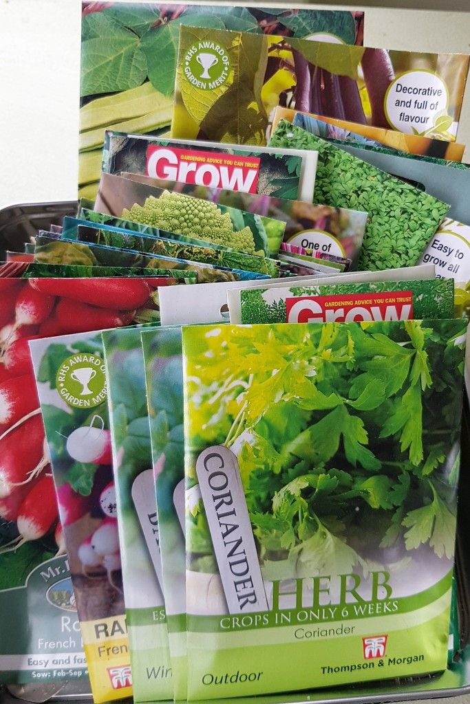Packs of seeds for different veg and herbs